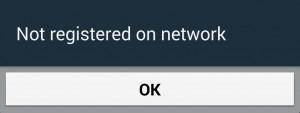 The 'not registered on network' error
