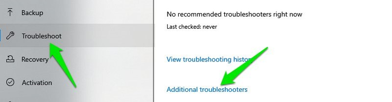 access Additional troubleshooters