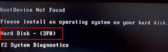 Boot device not found