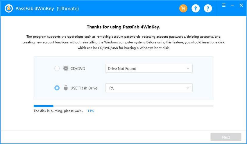 burn usb using passfab 4winkey