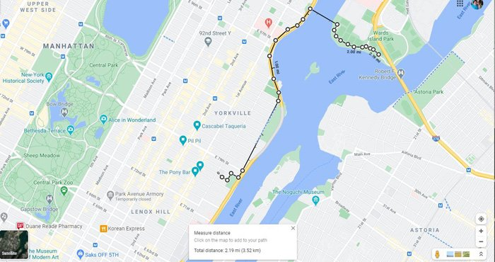 نمونه ای از اندازه گیری فاصله در گوگل مپ
