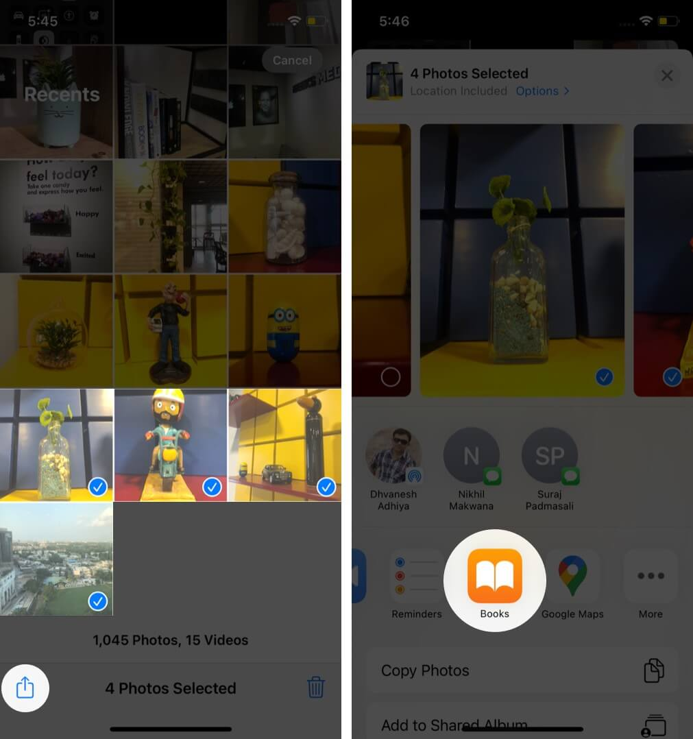 choose photos tap on share and then tap on books app on iphone