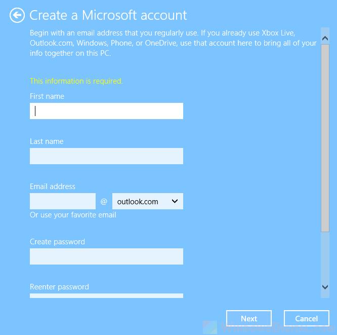 create a new Microsoft account for Windows 10