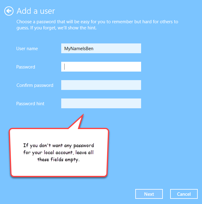 create local user account without password