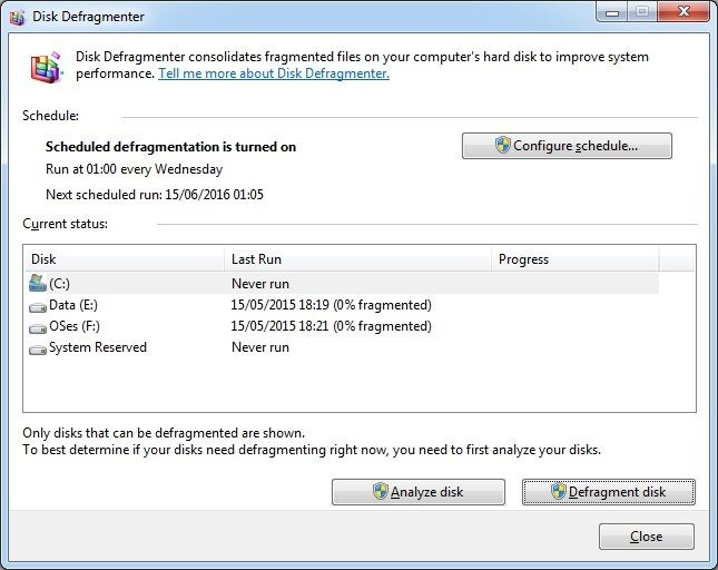 defragment the disk