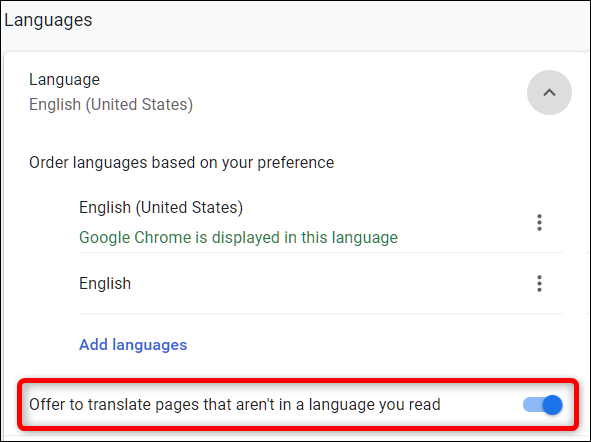 """Disable """"Offer to translate pages that aren't in a language you read,"""" under the Language heading"""