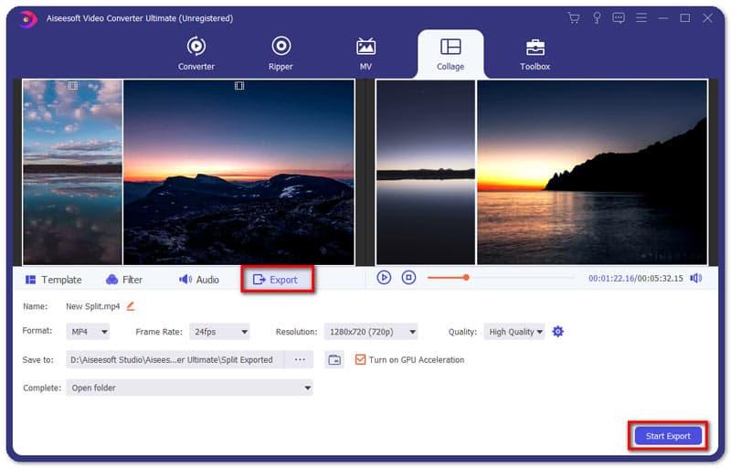 Export Split Screen