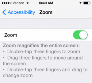 iPhone Zoom feature