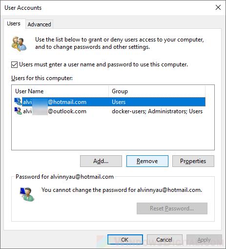 list of local microsoft user account administrator Windows 10
