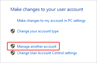 Manage another account link in Windows 10.