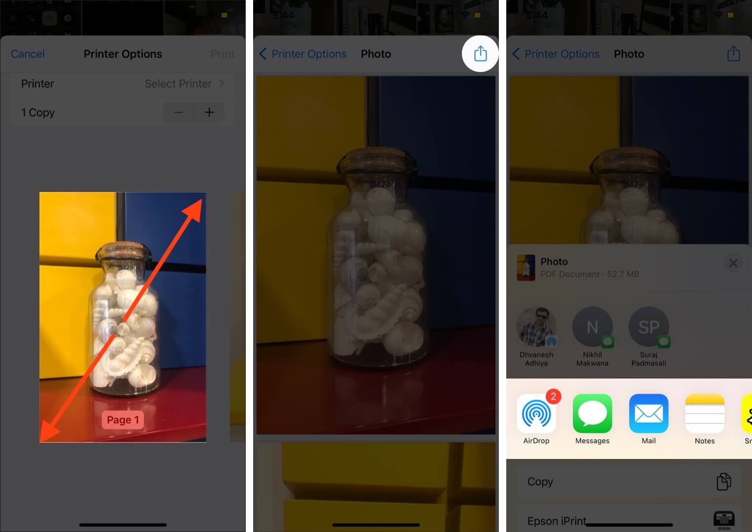 pinch out thumbnail tap on share and select option to convert photo to pdf on iphone