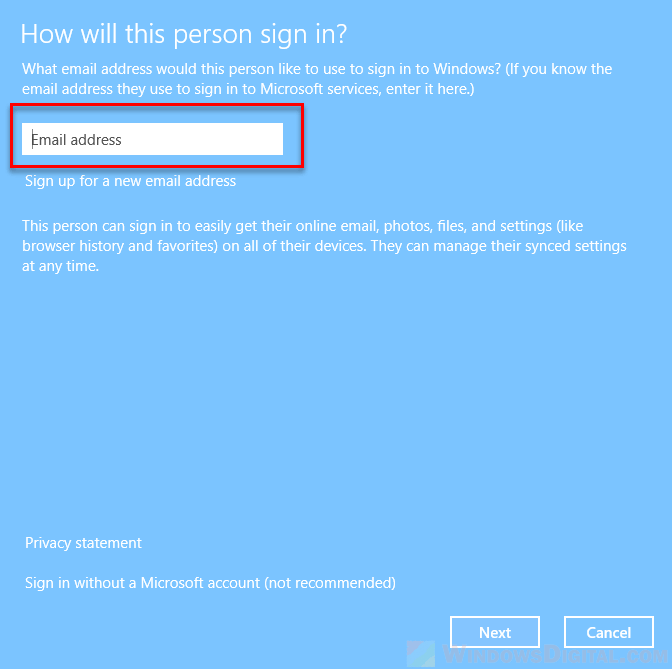 sign in to Windows 10 with another different Microsoft account