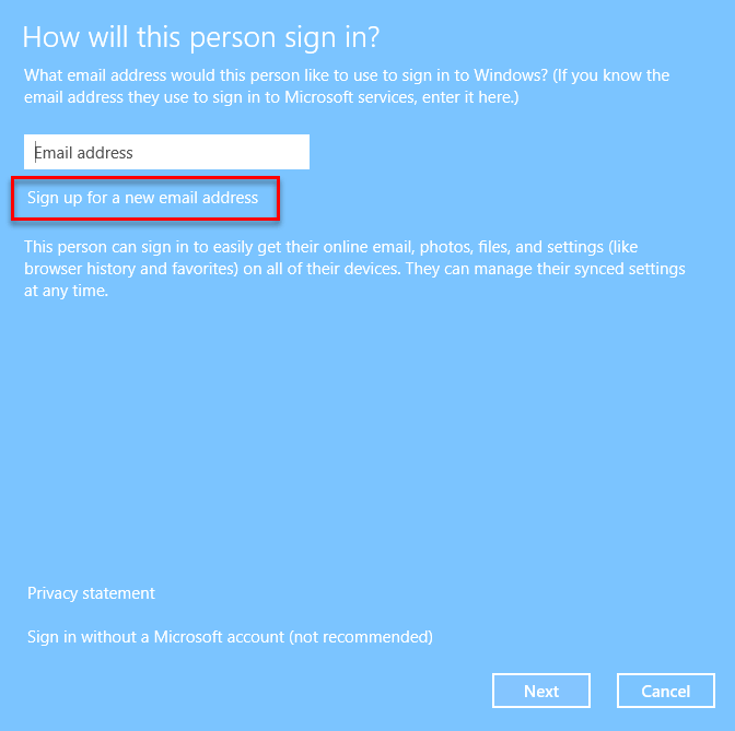 Sign up for a new Microsoft Account Windows 10 login