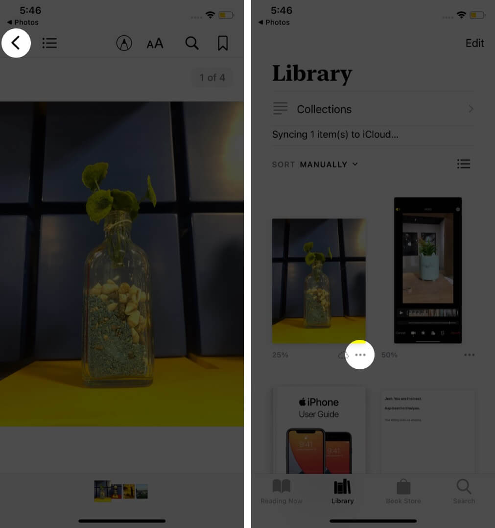tap on back arrow tap on three dots in books app on iphone