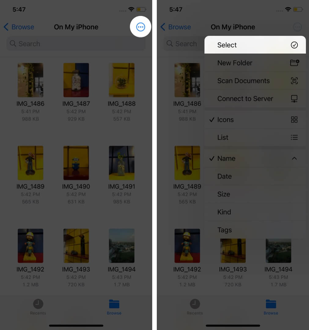 tap on three dots and then tap on select in files app on iphone