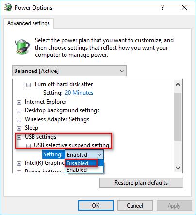 USB selective suspend setting
