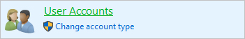 User accounts selector in Windows 10.