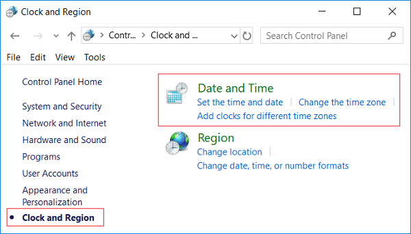 Click Date and Time then Clock and Region