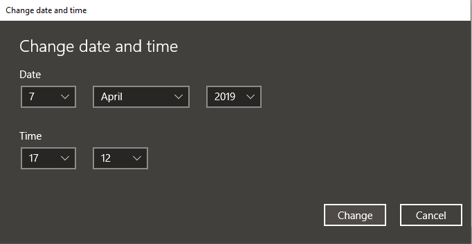 Click on Change button and set the date and time manually