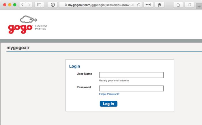 Gogo internet login screen