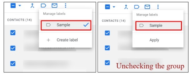 Google contacts interface showing contact deletion for Gmail groups