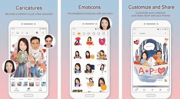 MomentCam is a photo to cartoon app that allows you to create your funny Cartoons and Emoticons