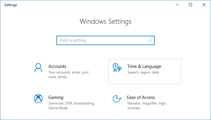 Press Windows Key + I to open Settings then click on Time & language