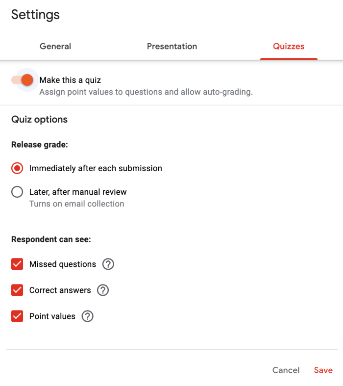Quizzes tab in settings