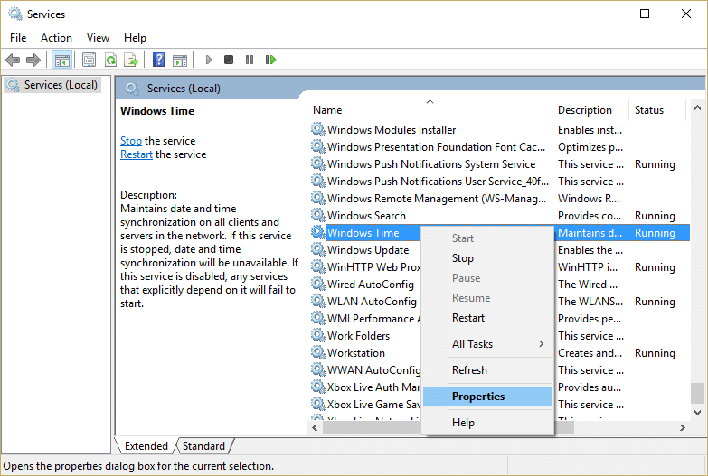 Right-click on Windows Time Service and select Properties | Fix Windows 10 Clock Time Wrong