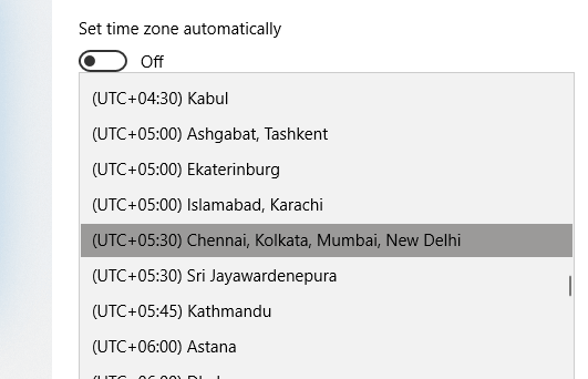 Turn off automatic time zone & set it manually to Fix Windows 10 Clock Time Wrong