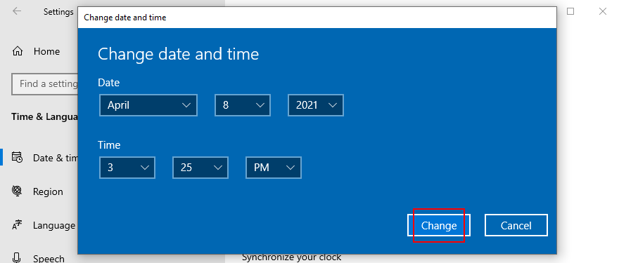 Windows 10 shows how to change the date and time