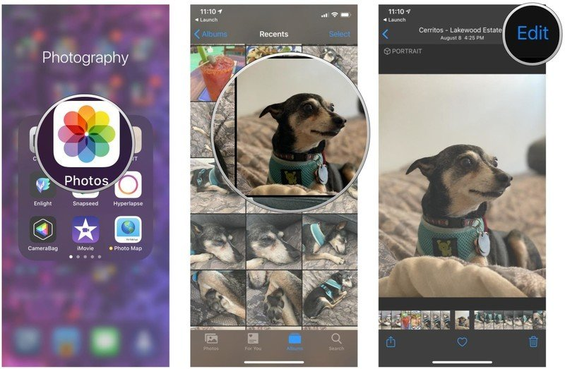 Automatically crop photos in Photos on iPhone and iPad by showing steps: Launch Photos, tap the photo you want to edit, tap Edit