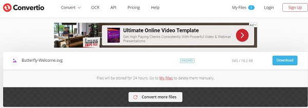 Convertio online JPG to SVG convertoer website screenshot
