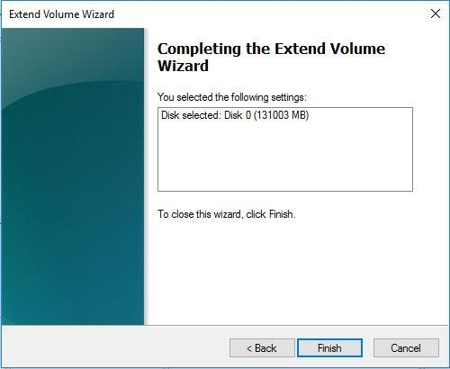 Extend Volume Wizard Confirm