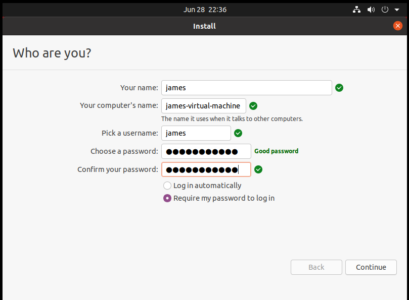 Fill out user details in Ubuntu 20.04