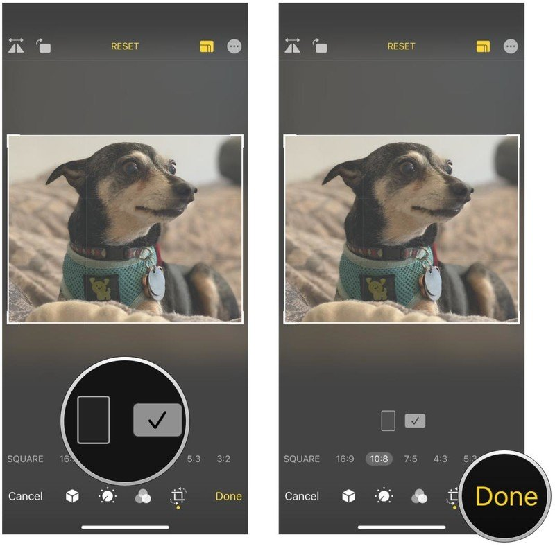 How to automatically crop photos in Photos on iPhone and iPad by showing steps: Tap if you want it to be vertical or horizontal, then tap Done