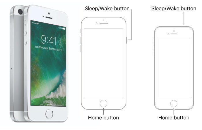 iPhone 6s or iPhone SE 1st generation phones reset buttons