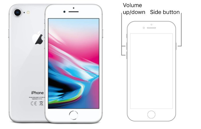 iPhone 8 or iPhone SE 2nd generation phones buttons
