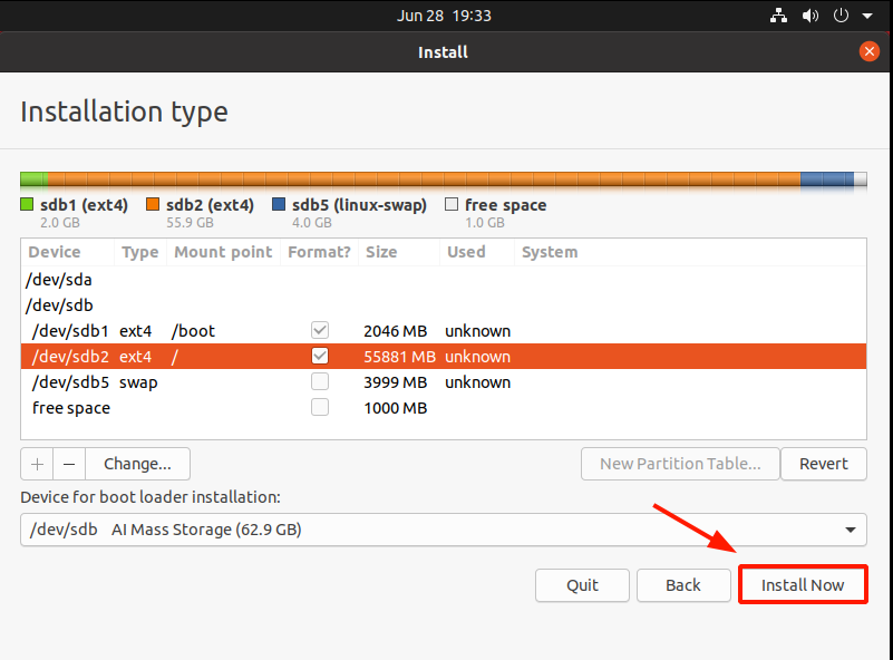 Partition table complete Ubuntu 20.04