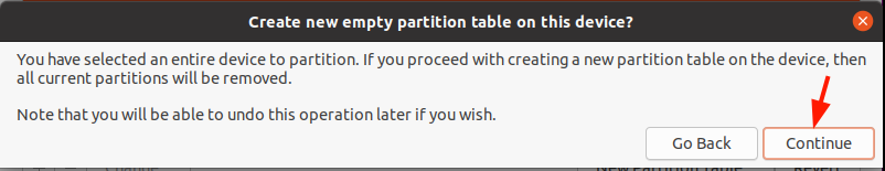 Proceed to create new partitions