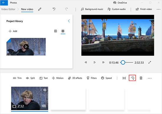 rotate video windows 10 in photos app