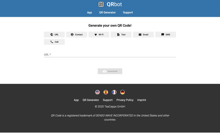Screenshot of QRbot QR Generator page, with option to create codes for: URL, Contact, W-Fi, Text, Email, SMS, and Call.