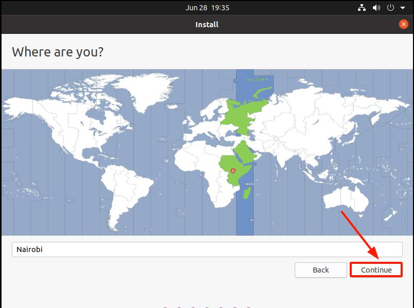 Select location on the world map Ubuntu 20.04