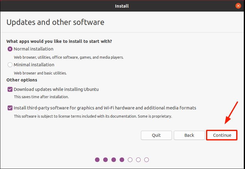 Select the updates and installation mode Ubuntu 20.04 installation