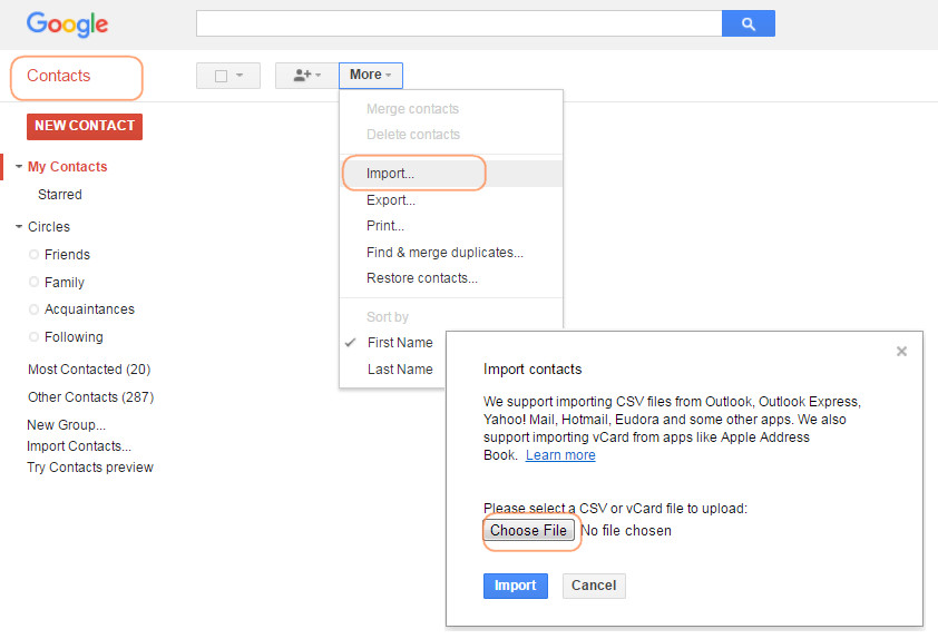 Sync Contacts to Gmail