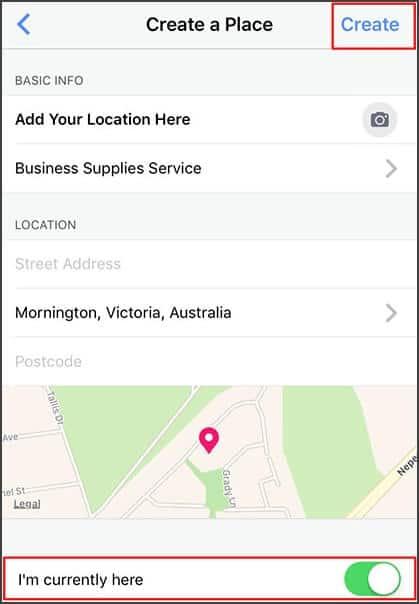 Use Facebook to create location Instagram.