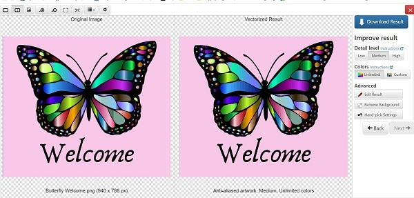 Vector Magic converts a JPG to SVG with the butterfly as a demonstration