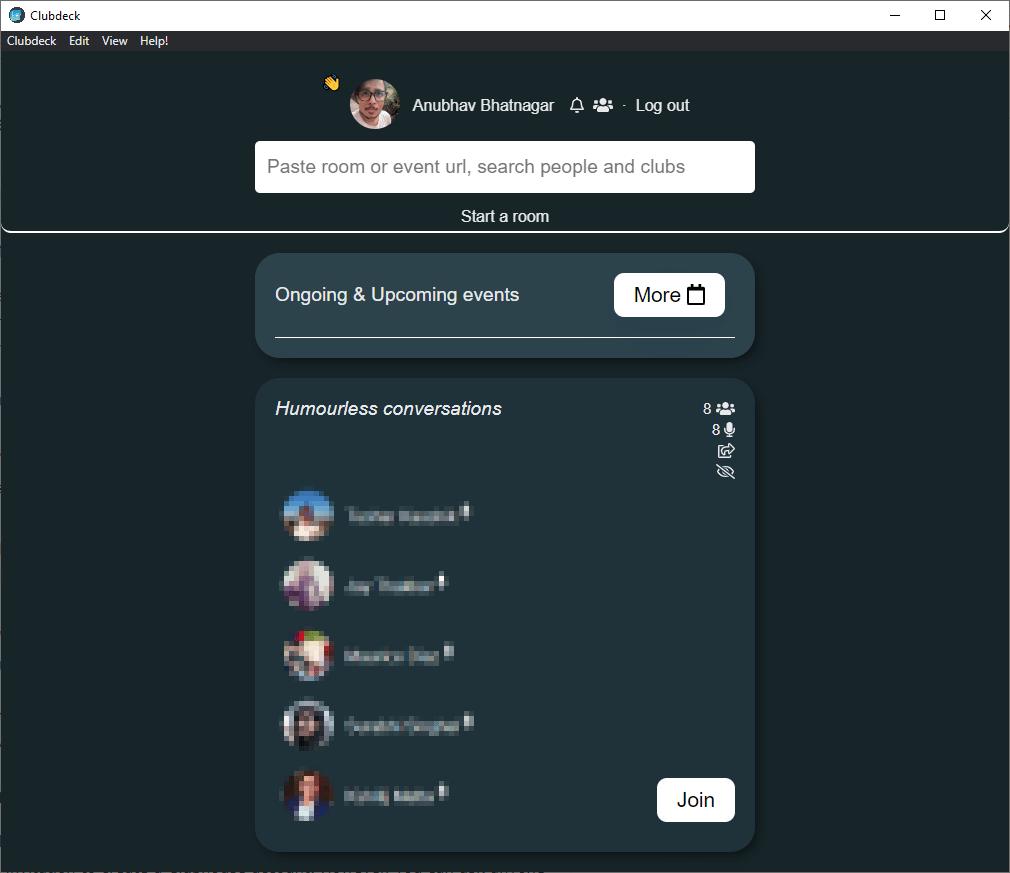 clubdeck clubhouse app interface mrnoob