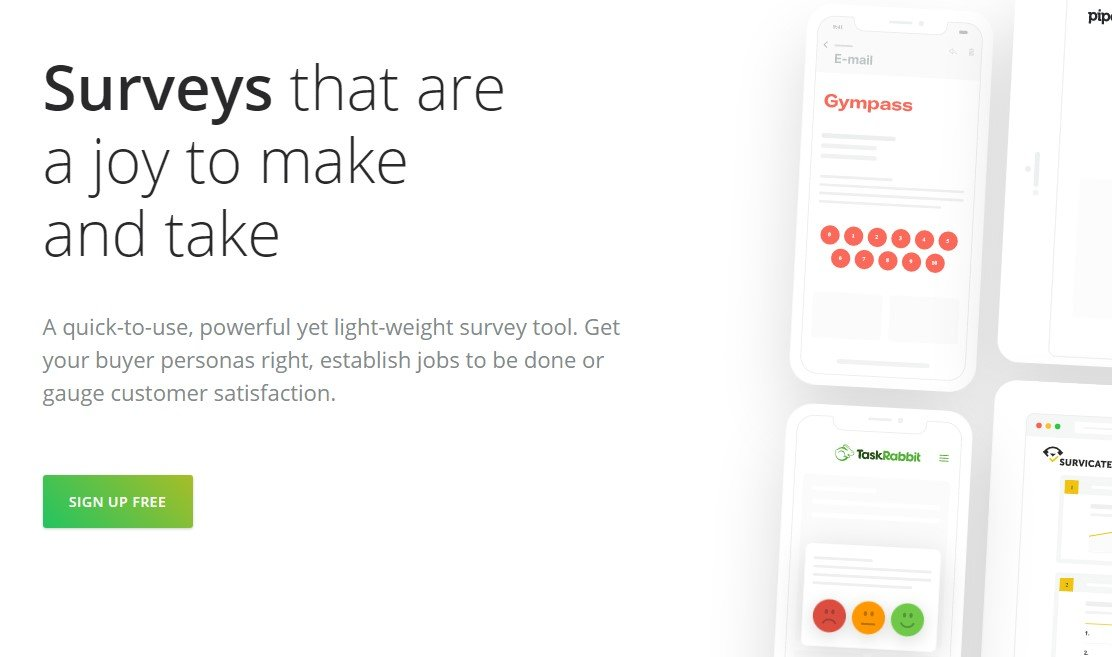 """survicate homepage that reads """"surveys that are a joy to make and take"""""""