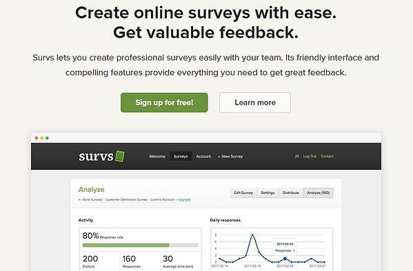 """survs homepage that reads """"create online surveys with ease. get valuable feedback"""""""